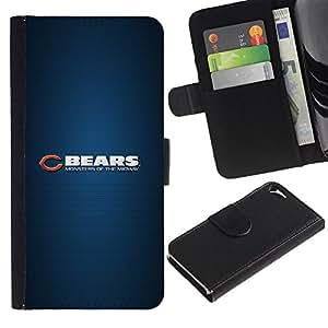ULTIX Cases / Apple Iphone 5 / 5S / BEAR SPORT TEAM / Cuero PU Delgado caso Billetera cubierta Shell Armor Funda Case Cover Wallet Credit Card