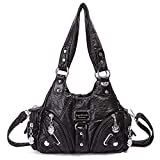 Handbag Hobo Women Bag Roomy Multiple Pockets Street Ladies' Top Handle Shoulder Bag Fashion PU Tote Satchel Bag (XS160922 1#Black)