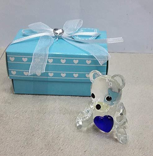 - ZAMTAC 10pcs/lot Ywbeyond Crystal Baby Shower Souvenirs Favors Choice Crystal Teddy Bear Favors Figurine - (Color: Blue)