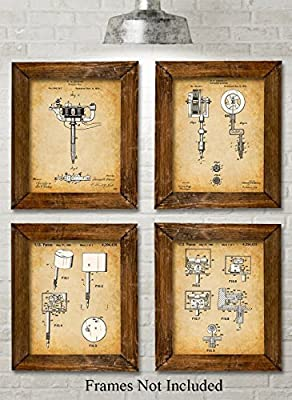 Original Tattoo Machine Patent Art Prints - Set of Four Photos (8x10) Unframed - Great Gift for Tattoo Artists, Parlors, Ink Fans