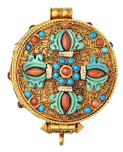 Goddess White Tara Gau Box Gemstones Pendant with Vishva Vajra at Front (Coral and Turquoise) - Made (Goddess White Necklace)