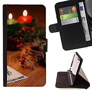 DEVIL CASE - FOR LG G2 D800 - Christmas Candles & Cards - Style PU Leather Case Wallet Flip Stand Flap Closure Cover