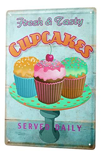 Cupcake Canvas Art - Tin Sign Nostalgic Fun Decoration fresh colorful sprinkles cupcakes Metal Wall Plate 8X12