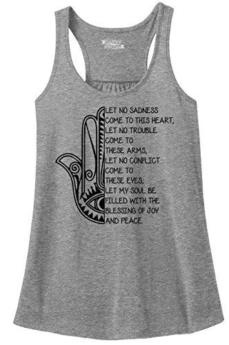 Comical Shirt Ladies Racerback Tank Let No Sadness Trouble Hamsa Graphic Sport Grey L