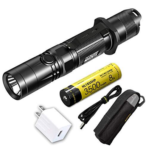 چراغ قوه قابل شارژ USB Nitecore MH12GTS 1800 Lumen Long Throw با باتری با کارایی بالا و آداپتور LumenTac