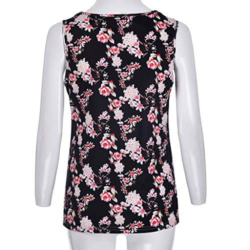 FDSD Women Top Womens Tank Tops O-Neck Sleeveless Loose Floral Printed Summer Casual Vest Shirt Blouse Cami (L, Black) by FDSD Women Top (Image #5)