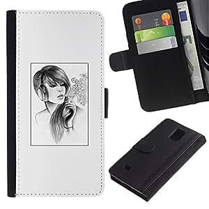 LECELL--Cuero de la tarjeta la carpeta del tirón Smartphone Slots Protección Holder For Samsung Galaxy Note 4 IV -- Señora de fumadores --