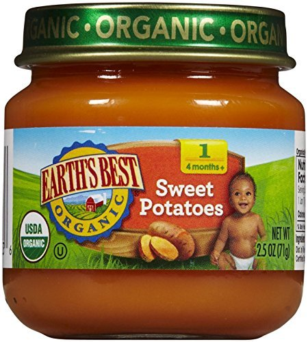 Earths Best Pear (Earth's Best Organic Stage 1 Baby Food, Sweet Potatoes, 2.5 Ounce Jars, Pack of 12)