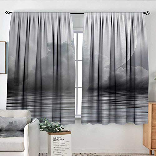 Moon Waterproof Window Curtain Misty Air in The Ocean Monochrome Picture with Full Moon Natural Imagery Blackout Draperies for Bedroom 72