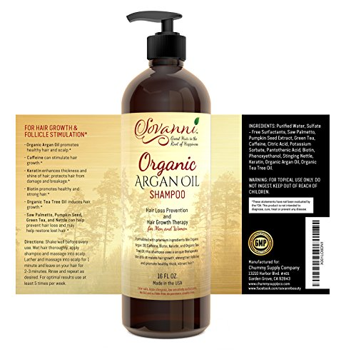 Hair Loss Shampoo Hair Growth Shampoo with Organic argan oil Tea Tree Oil Caffeine Keratin Biotin Saw Palmetto and other DHT blockers for Men & Women 16fl oz Sulfate Free