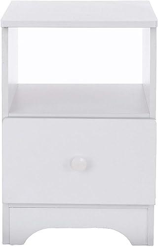 Assemble Storage Cabinet Bedroom Bedside Locker Single Drawer Nightstand Wood Look Accent Furniture 15.75×13.78×21.65in