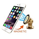 Car Mount,ULELA Universal Metal Magnetic Car Mount Cradle Holder,Cell Phone Holder 360 Degress Rotatable for iPhone 6S Plus/SE,Mini Tablets,Samsung S7 Edge/Note 5,GPS and More Smartphone (Gold)