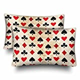 InterestPrint Card Suits Clubs Diamonds Hearts Spades Poker Gamble Pillow Cases Pillowcase Standard Size 20x30 Set of 2, Rectangle Pillow Covers Protector for Home Couch Sofa Bedding Decorative