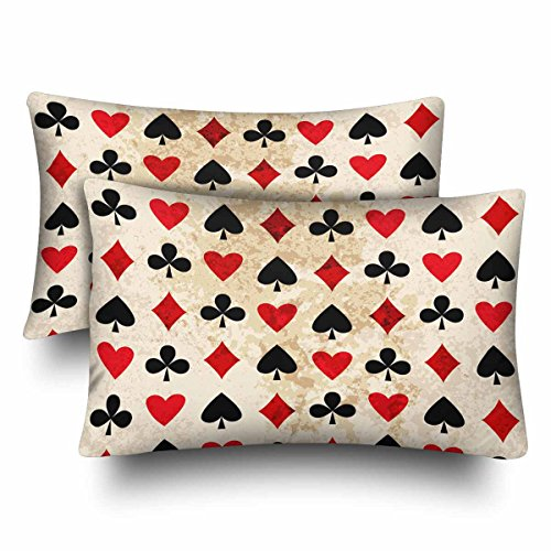 InterestPrint Card Suits Clubs Diamonds Hearts Spades Poker Gamble Pillow Cases Pillowcase Standard Size 20x30 Set of 2, Rectangle Pillow Covers Protector for Home Couch Sofa Bedding Decorative by InterestPrint