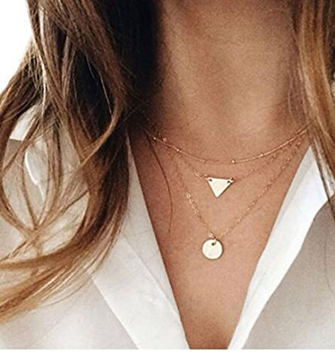 Women's Fashion Simple Triangle Bar Pendant Triple Strand Short Collar Necklace (Gold Color) (Triple Layered Necklace)