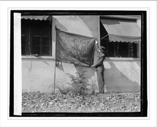 Historic Print (L): Howard S. Fisk with flag of Geo. Wash. Post, Amer. Legion... ()