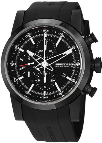 Day Date Automatic Titanium Watch - MomoDesign Composito Men's Black PVD Titanium Automatic Chronograph Watch MD280BK-01BKBK-RB