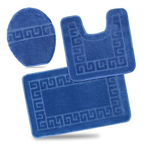 Bathroom Rug Mats Set 3Piece ToiletCarpet RugsIncludes Contour Matand Lid Cover, Non Slip Shaggy mat Machine Wash/Dry, Perfect Plush Mats for Tub Shower (Light Blue 32 x 20/20 x 20/19 x 1