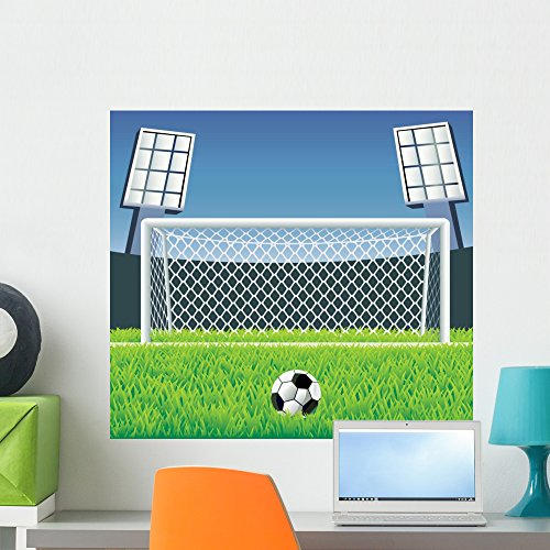 Wallmonkeys Soccer Detailed Goal and Wall Mural Peel and Stick Graphic (24 in W x 22 in H) WM156294 by Wallmonkeys