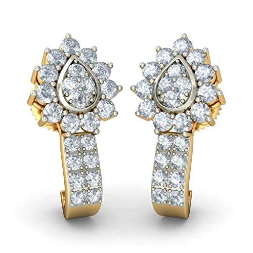 Or jaune 18K 750/1000CT TW White-diamond (IJ | SI) Boucles d'oreilles créoles
