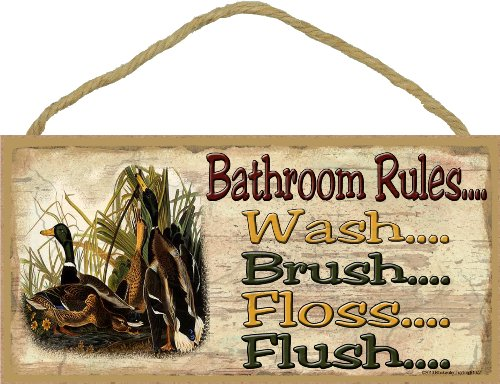 Blackwater Trading Mallard Duck Bathroom Rules Rustic Back Woods Cabin Lodge SIGN PLAQUE 5