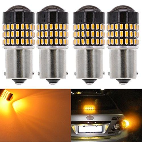 Led 16mm Lens - KaTur 4pcs 900 Lumens 1156 BA15S 7506 1073 1095 1141 Base Super Bright 3014 78SMD Lens LED Bulbs Brake Turn Signal Tail Backup Reverse Brake Light Lamp Amber 12V 4W