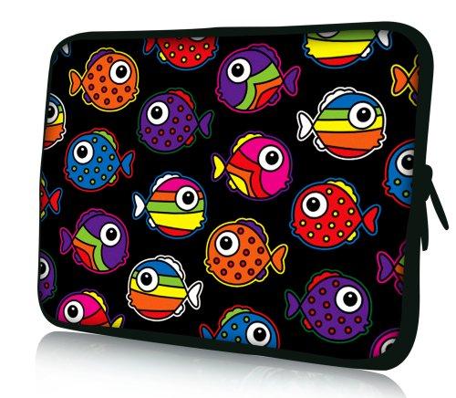 Luxburg® Design Laptoptasche Notebooktasche Sleeve für 17,3 Zoll, Motiv: bunte Fische