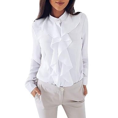 Longra 2018 Blusa de Manga Larga con Volantes de Las Mujeres Camisa de la Oficina Tops Camisa de Trabajo de Las señoras: Amazon.es: Ropa y accesorios