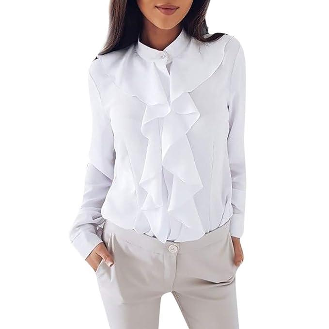PANY Mujeres Blusa de Manga Larga Camisa de Volante con Volantes Tops de Oficina para Mujer