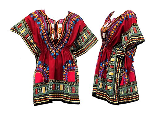 (NF Dashiki Top with Elastic Waist-Red-One)
