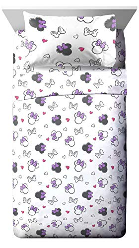 Jay Franco Disney Minnie Mouse Purple Love Twin Sheet Set - Super Soft Cozy Kid's Bedding - Fade Resistant Polyester Microfiber Sheets (Official Disney Product) by Jay Franco