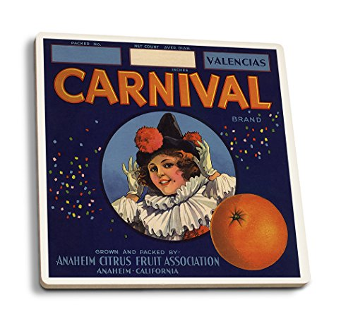 Carnival Brand - Anaheim, California - Citrus Crate Label (Set of 4 Ceramic Coasters - Cork-Backed, Absorbent) ()