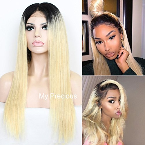 Black And Blonde Wig (My Precious Ombre Blonde Glueless Lace Front Wigs Long Straight Synthetic Hair Wig For Women 2 Tone Color Black Roots)