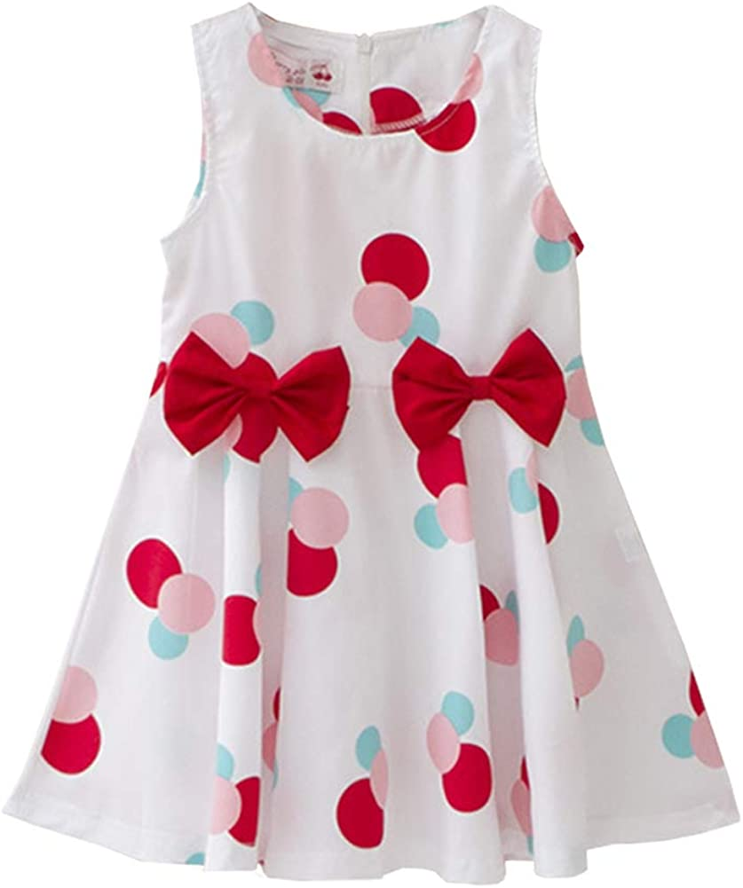 KUKEONON Little Baby Girls Sleeveless Princess Sweet Ruffle Vest Dress with Bowknot
