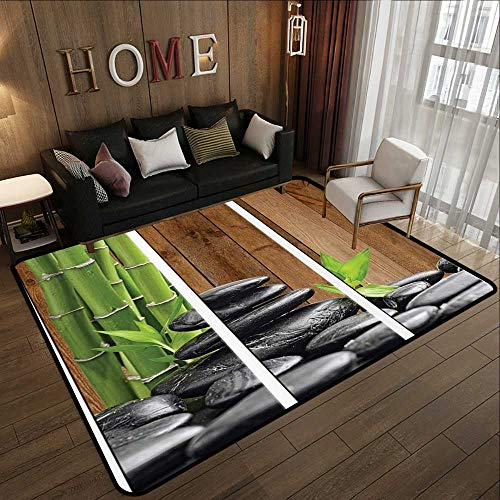 Rugs for Bedroom,Art Decor Collection,Spa Zen Basalt Stones and Bamboo Trees Picture Print,GreenDark GrayBrown 63