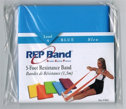 Magister Resistive Exercise - Rep Band Latex-Free 5 FOOT PRE-CUT LENGTHS BLUE (LEVEL 4)
