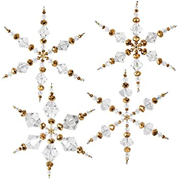 Solid Oak NC003 Crystal/Gold Snowflakes Ornament Kit