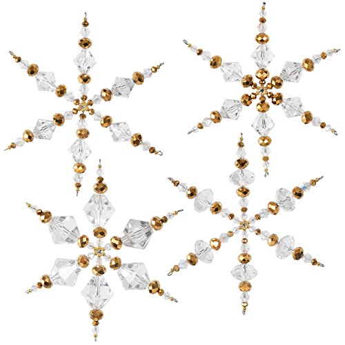 Snowflake Ornaments Beaded (Solid Oak NC003 Crystal/Gold Snowflakes Ornament Kit)