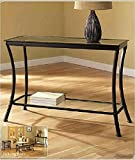 Mendocino Black Console Table, Stylish Bronze Metal & Glass Sofa Table Narrow Entryway Hall Accent