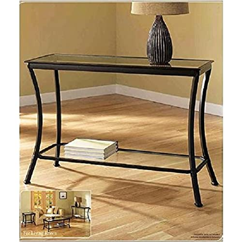 Mendocino Black Console Table, Stylish Bronze Metal U0026 Glass Sofa Table  Narrow Entryway Hall Accent