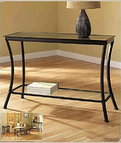 Cheap Mendocino Black Console Table, Stylish Bronze Metal & Glass Sofa Table Narrow Entryway Hall Accent