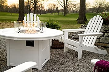 POLYWOOD Classic Folding Adirondack 6-Piece Conversation Set with Fire Pit Table Tangerine
