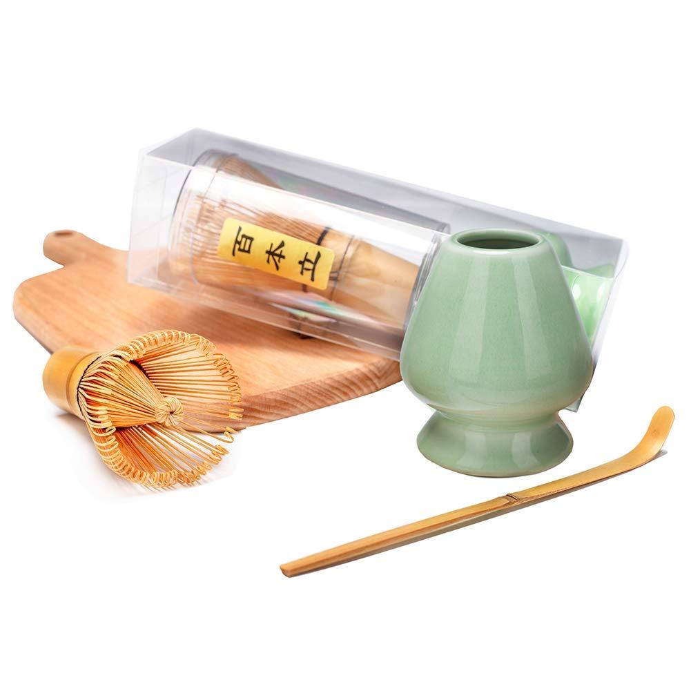 Bamboo Matcha Tea Whisk Set (Chasen) Bamboo Scoop (Chashaku) Ceramic Whisk Holder Ceremonial Starter Matcha Kit for Traditional Japanese Tea Ceremony (plum green)