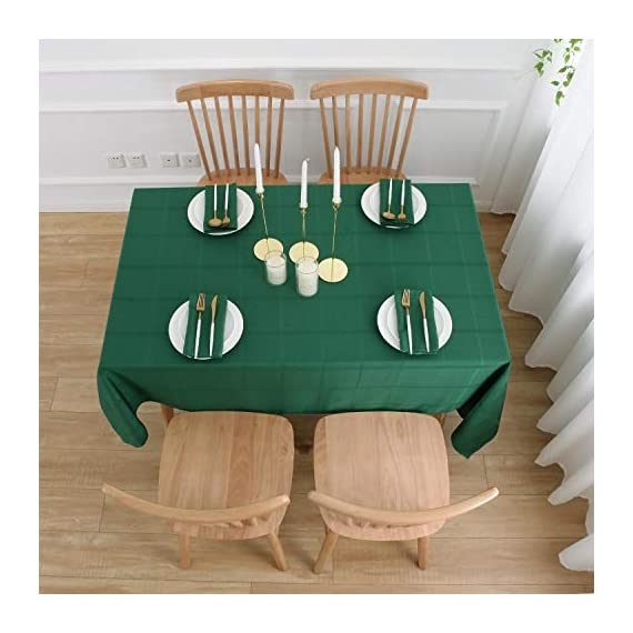VEEYOO Rectangle Spillproof Table Cloth - 60 x 102 Inch Green Striped Tablecloth in Washable Polyester - Stain Resistant Wrinkle Free Tablecloth for Dinner Party Restaurant - 100% Polyester Fabric Tablecloth. Made of high quality material, these table cloth are soft touch, also they're stain and wrinkle resistant for home indoor and outdoor use. Elegance Plaid Table Cloth. Special design with jacquard lines makes these tablecloths more textured, beautiful and simple. Also the Hemmed edges checkered tablecloths are perfect for Bridal Shower, Banquet. Spillproof Tablecloth. All liquids/spills bead up for an easy clean with sponge or napkins. Also, these waterproof table covers are not fade. Machine washable, no bleach, gentle cycle and no iron, easy care for daily use. - tablecloths, kitchen-dining-room-table-linens, kitchen-dining-room - 51s10RErk0L. SS570  -