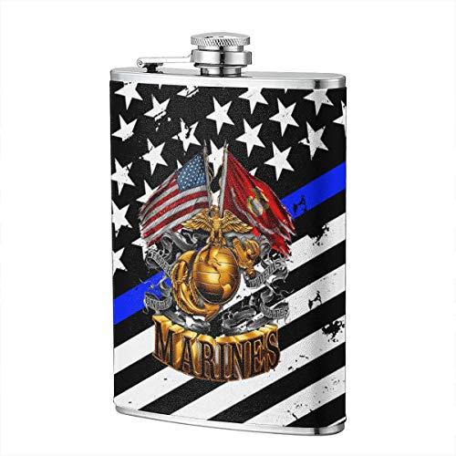 - JiuHuuioz Marine Corps Gold Globe Patriotic Hip Flask Pocket Bottle Flagon 8oz with Leather Case