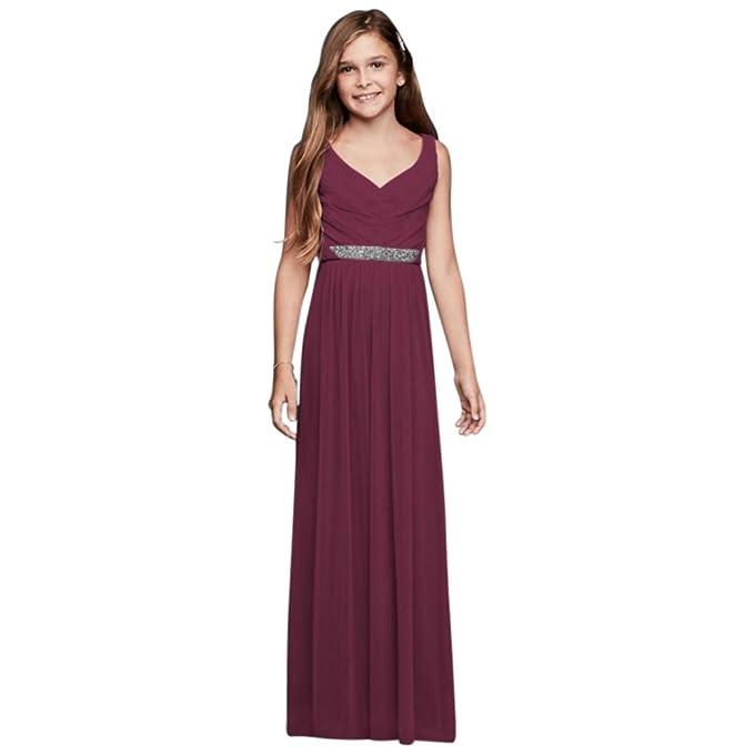 3fe9588182d David s Bridal Beaded Waist Long Mesh Junior Bridesmaid Dress Style JB9609