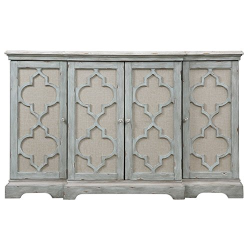 My Swanky Home Ivory Gray Quatrefoil 4 Door Cabinet | Entertainment TV Center