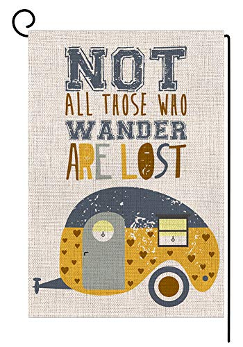 BLKWHT Campers Summer Garden Flag Double Sided 12.5 x 18 Inch RV Camping Outdoors Yard Decor(Not All Those Who Wander are Lost)