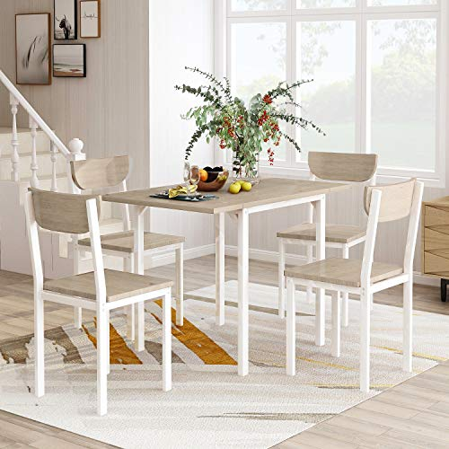 FLIEKS 5-Piece Modern Dining Table Set with A Drop Leaf Dining Table and 4 Chairs Home Kitchen Furniture Dinette Set (Light Grey/White)