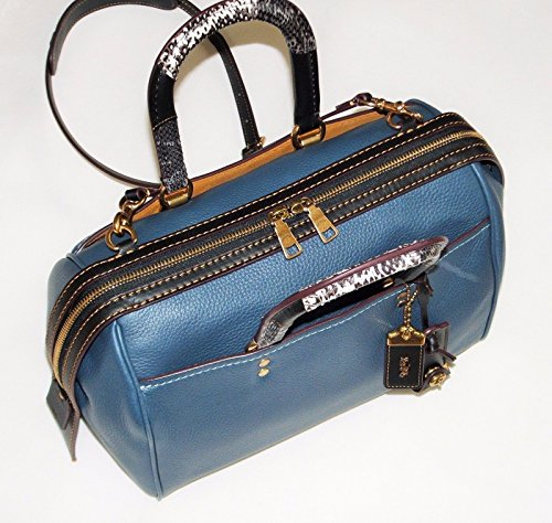 COACH-Glovetanned-Pebble-Leather-Snakeskin-Handle-Rogue-Satchel-in-Dark-Denim-Old-Brass-58690